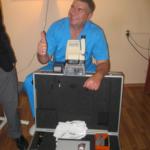 Dr. Yuri Barinov with the Zeiss laser and Nikon Retinomax Autorefractor donated to Kyiv, Ukraine in May 2012 by Eye Samaritans International.